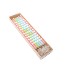 Pastel Striped Cake Candles 12 Pack