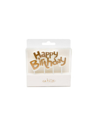 Gold Happy Birthday Cake Candle Plaque