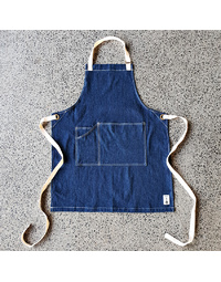 The George Denim Apron with Latte Straps